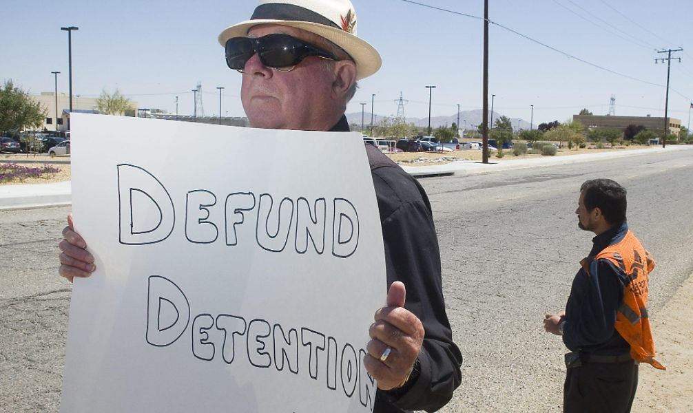 CIVIC Volunteers protest outside of the Adelanto Detention Facility, as part of CIVIC's Defund Detention Campaign!
